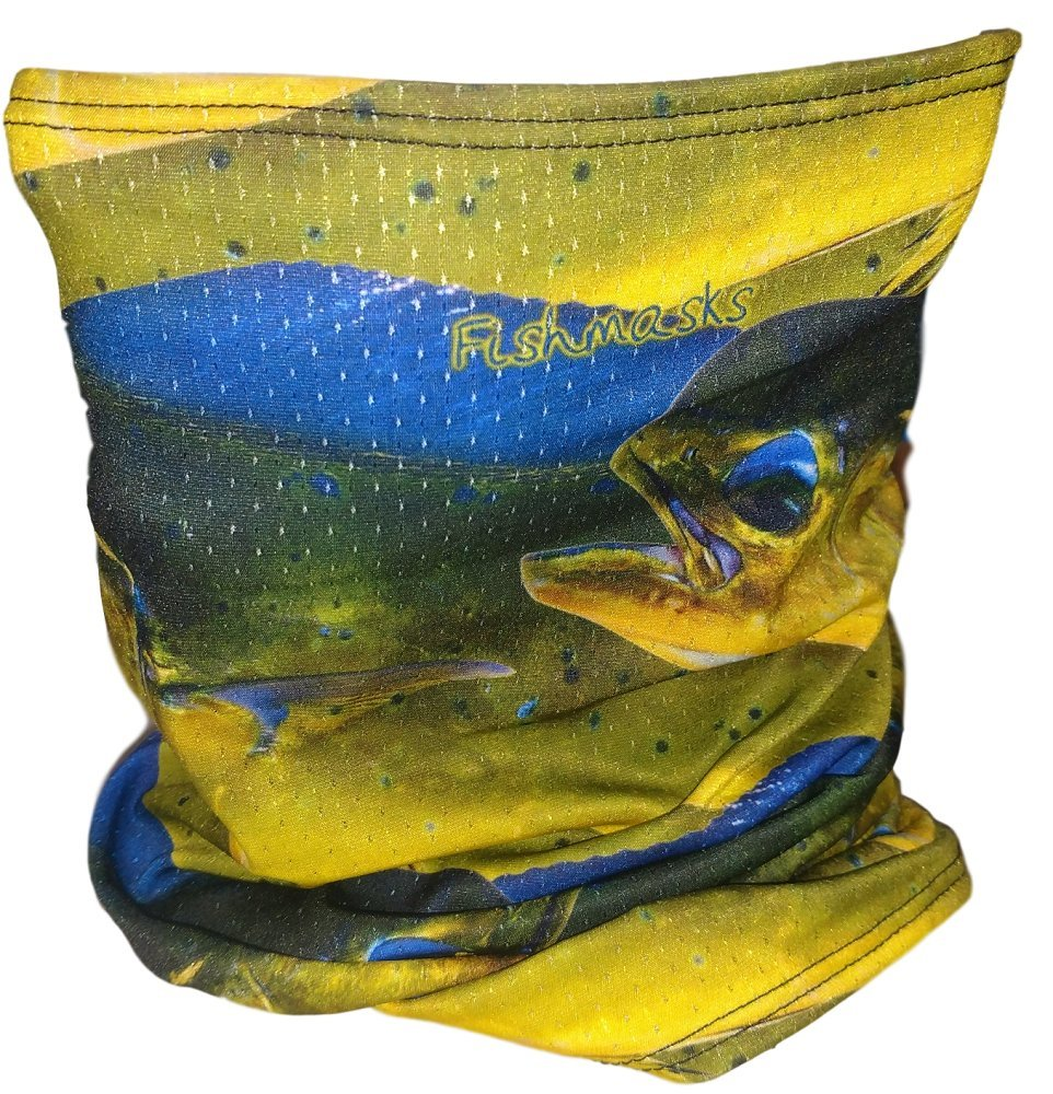 Fishmasks Single Layer Neck Gaiter (One Size fits Most, Dorado Fish)