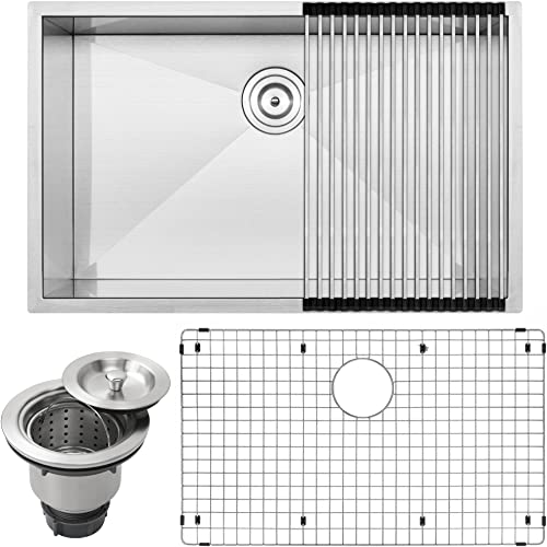 30 Ticor S3690 Pacific Series 16-Gauge Undermount Stainless Steel Single Bowl Zero Radius Square Kitchen Sink with Accessories