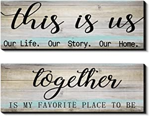 2 Pieces This is Us Our Life Our Story Rustic Print Wood Signs Together Rustic Wooden Wall Art Signs Farmhouse Entryway Signs for Bedroom Living Room Office Decor, 4.7 x 13.8 Inch (Rustic Blue)