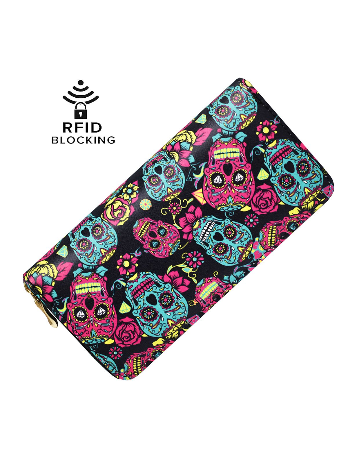LAIMIDUO Women's Skull Wallet Gothic Leather RFID Blocking Purse Clutch Multi Card Holder Gift for Lady