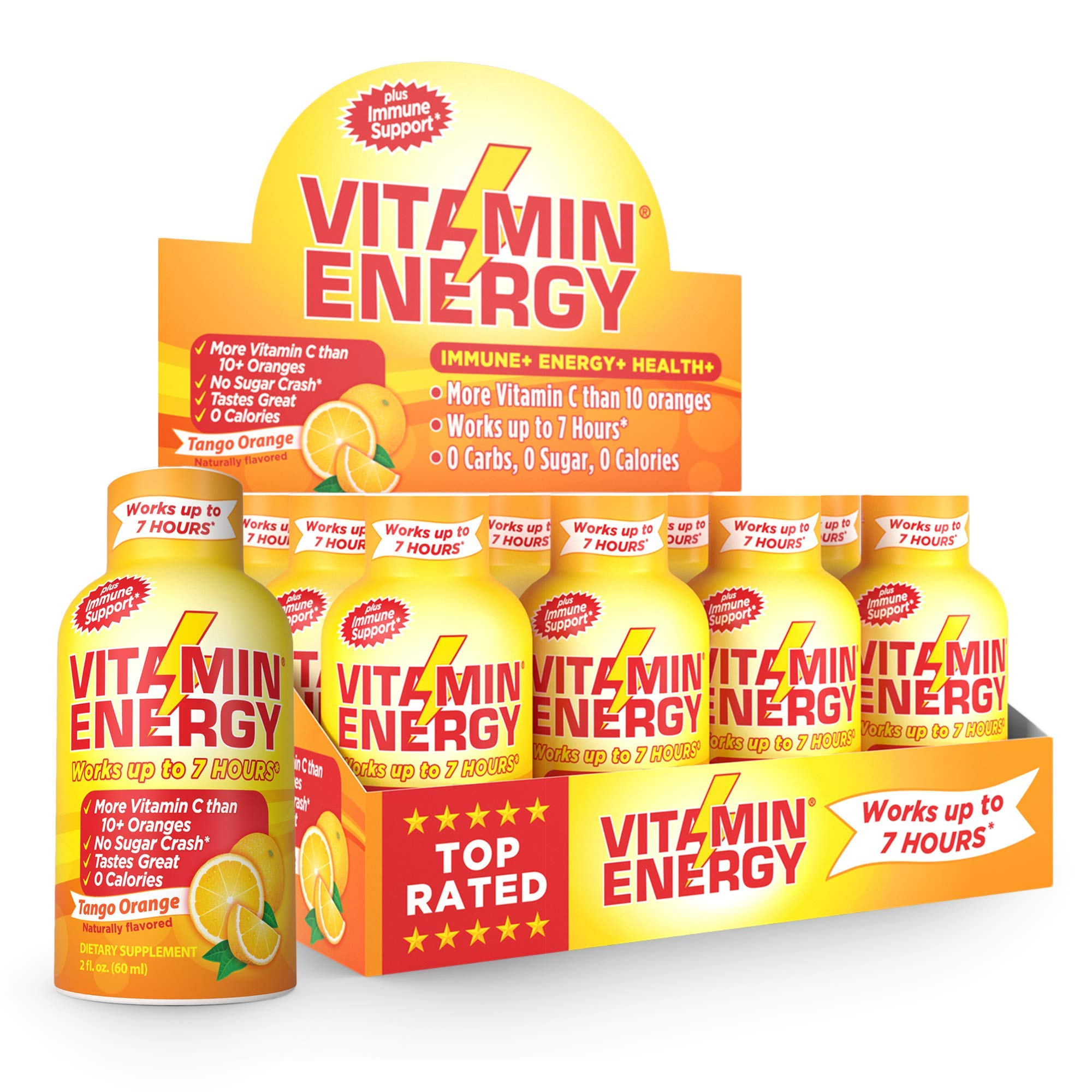 Vitamin Energy Shots - Energy Lasts up to 7+ Hours*, Supports Immune Health*, Great Tasting Tango Orange, Keto Friendly 0 Sugar / 0 Carbs (12 pack) by Vitamin Energy