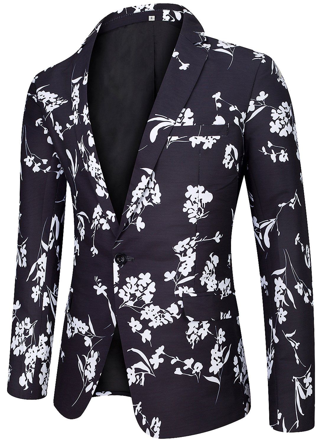 Men's Regular Fit Casual One Button Blazer Jacket Summer Fitted Sports Suit Coat Floral D Large