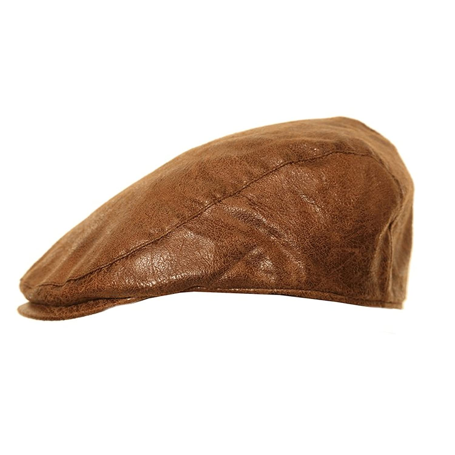 79067c830295f Wrapeezy Black or Brown Leather Look Flat Cap Mens Gatsby Hat  Amazon.co.uk   Clothing