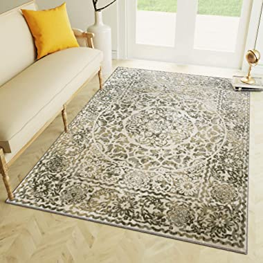 Transitonal Neutral Vintage Distressed Border Rugs 5x7 Living Room Trendy Carpet, 5-Feet 3-Inch by 7-Feet 3-Inch