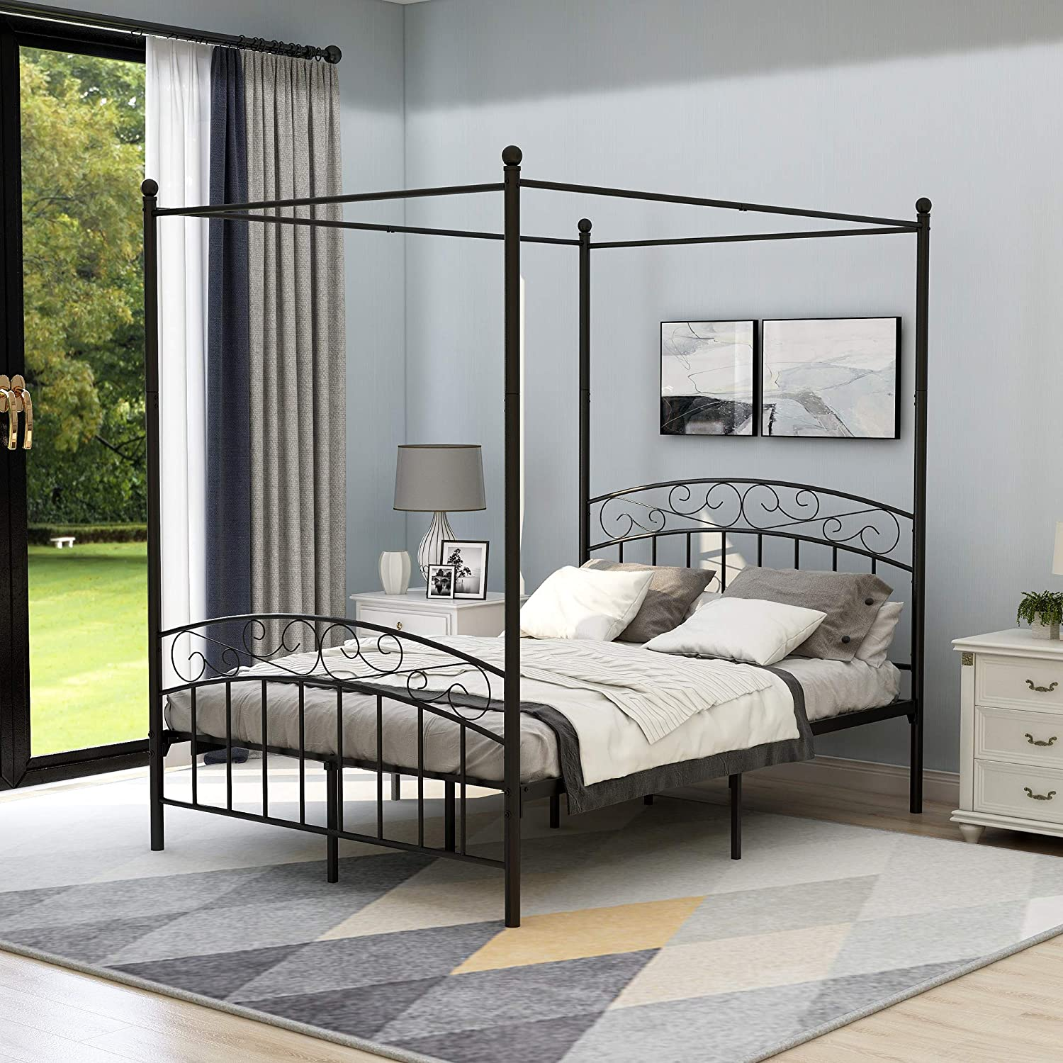 Canopy Bed Frame Full Size with Headboard and Footboard, Sturdy Metal Steel Easy Assembly,Black