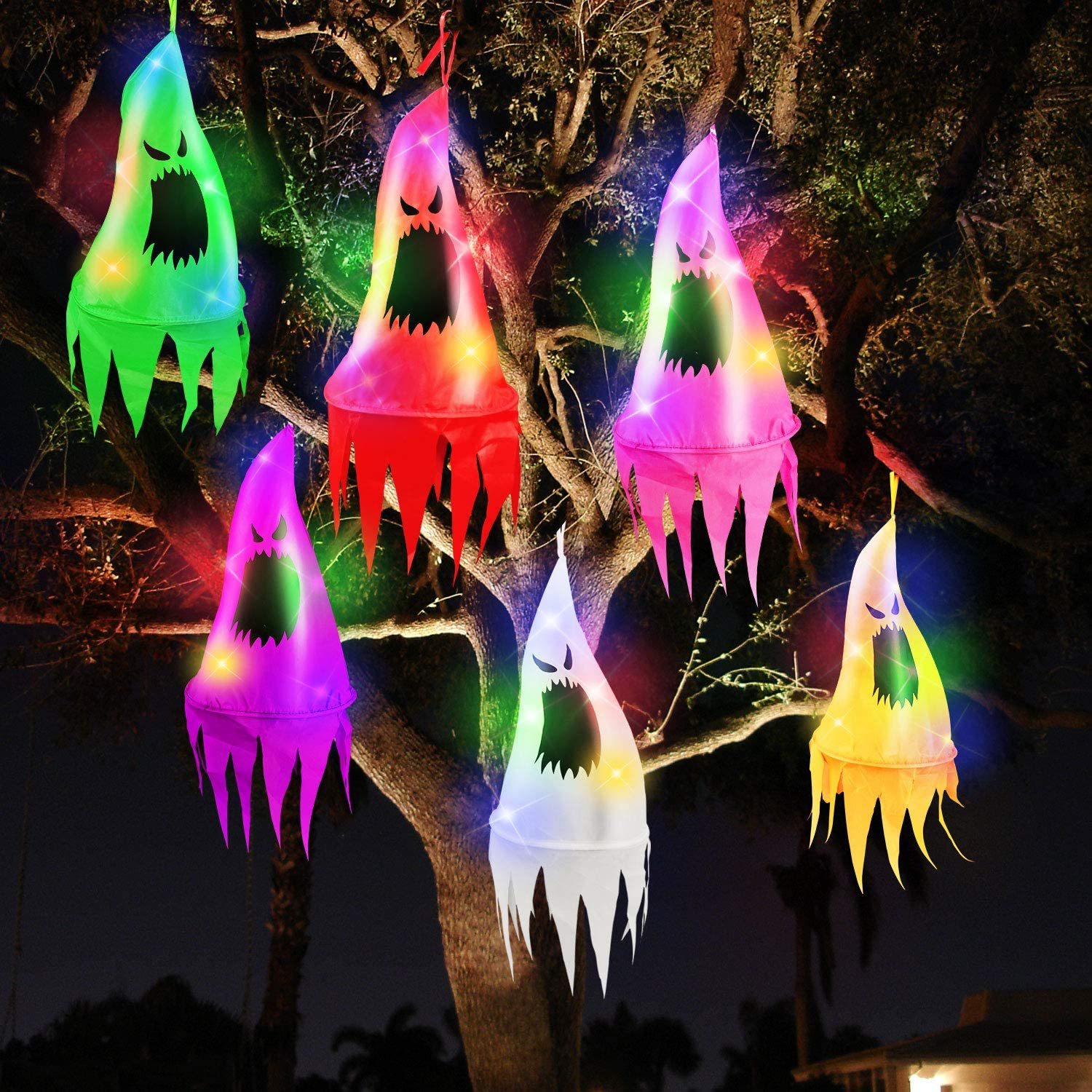 TURNMEON 6Pcs Halloween Ghost Hanging Decorations with Witch Hat Shapes 10LED 3.2Ft/Piece Colored String Lights Battery Operated Halloween Decorations Outdoor Indoor Yard Tree Garden Party Decor