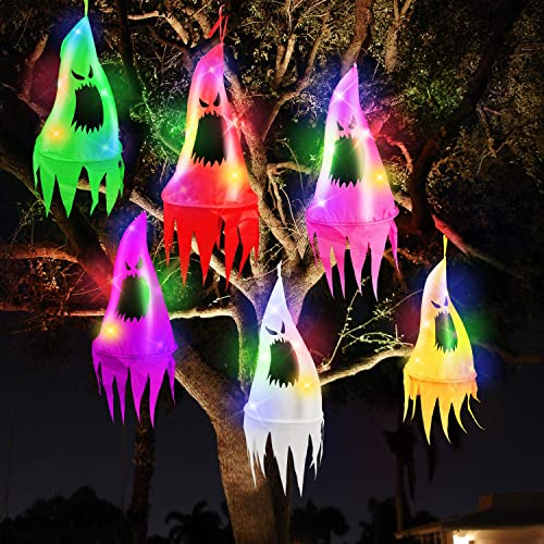 TURNMEON 6Pcs Halloween Ghost Hanging Decorations with Witch Hat Shapes 10LED 3.2Ft Piece Colored String Lights Battery Operated Halloween Decorations Outdoor Indoor Yard Tree Garden Party Decor