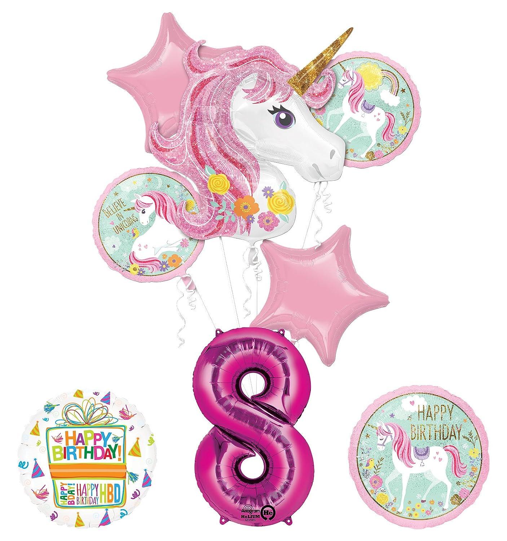 Amazon Unicorn Party Supplies Believe In Unicorns 8th Birthday Balloon Bouquet Decorations Toys Games