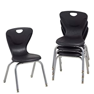 "FDP 14"" Contour School Stacking Student Chair, Ergonomic Molded Seat Shell with Chromed Steel Frame and Swivel Leg Glides; for in-Home Learning or Classroom - Black (4-Pack)"