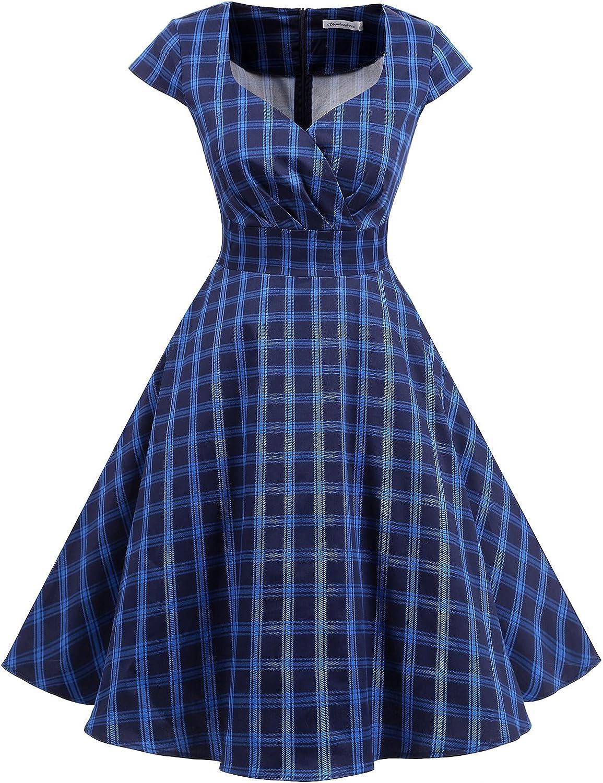 TALLA XS. Bbonlinedress Vestido Corto Mujer Retro Años 50 Vintage Escote En Pico Navy Plaid XS
