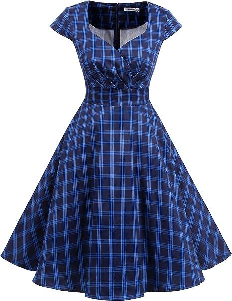 TALLA S. Bbonlinedress Vestido Corto Mujer Retro Años 50 Vintage Escote Navy Plaid S
