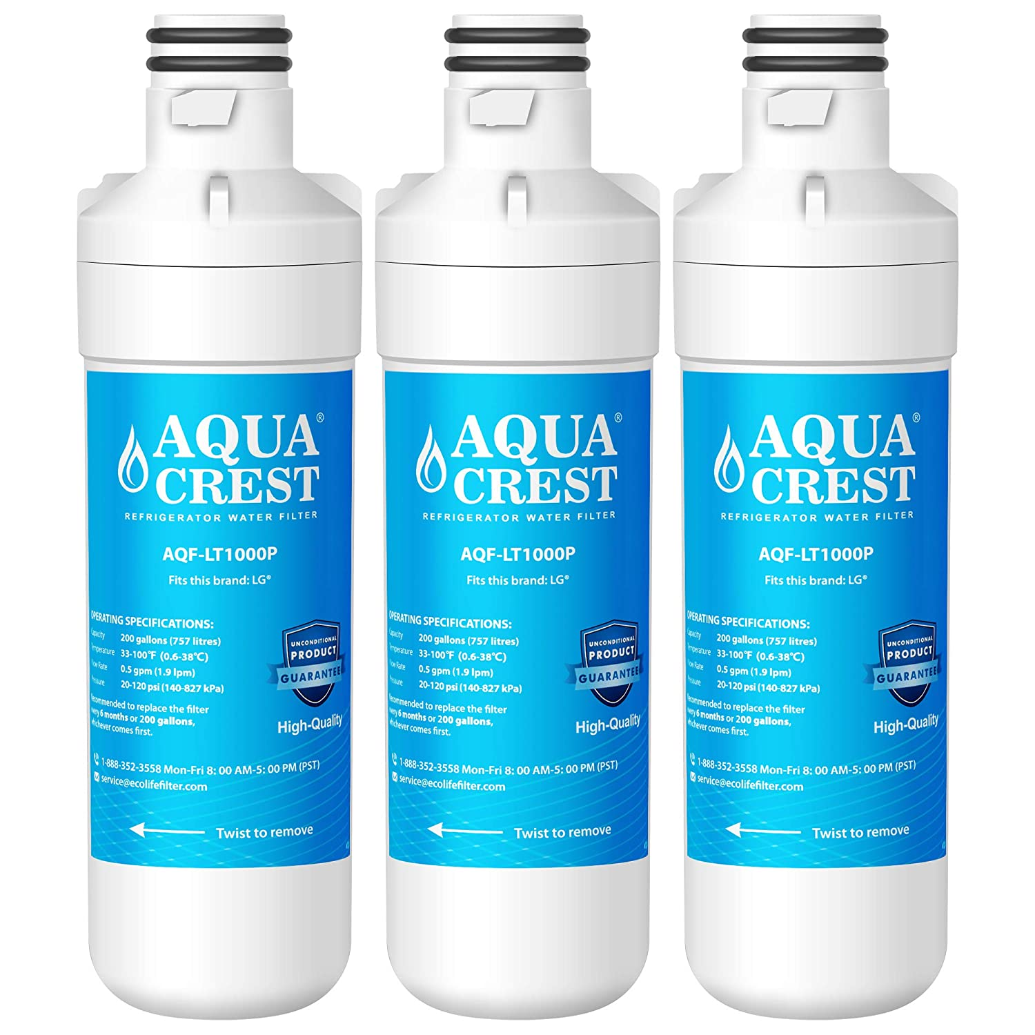 AQUACREST Refrigerator Water Filter, Compatible with LG LT1000P, LT1000PC, MDJ64844601, ADQ74793501, Kenmore 469980, 9980 (Pack of 3)