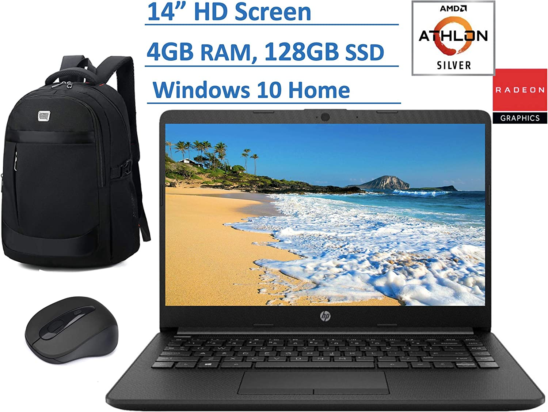 2020 HP Premium 14 inch HD Laptop, AMD Athlon Silver 3050U (Beat i5-7200U), up to 3.2GHz, 4GB RAM, 128GB SSD, Jet Black Color, HDMI, Webcam, WiFi, Windows 10 in S, Computer Backpack & Mouse Bundle