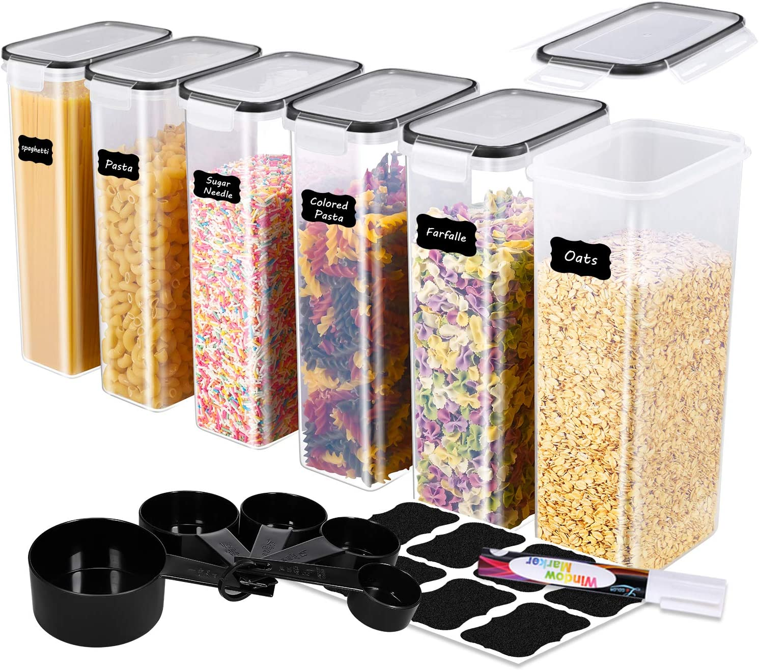 ME.FAN Food Storage Containers [Set of 6] Airtight Storage Keeper-Spaghetti Canisters 2.8L(94.7oz) with 5 Set Measuring Cups 24 Chalkboard labels & Pen-Black