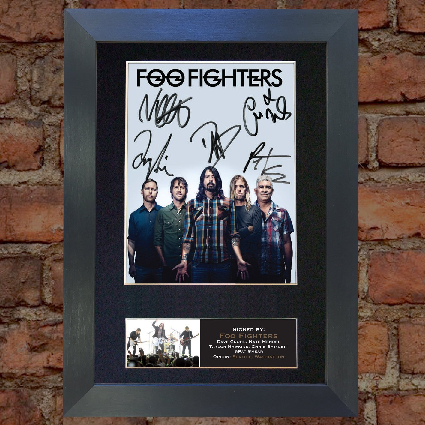 #597 297 x 210mm FOO FIGHTERS No2 Top Quality Signed Autograph Mounted Photo Reproduction PRINT A4 Rare Black Frame