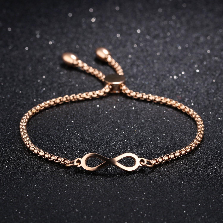 Joymoment Women Bracelets Cubic Zirconia Silver//Rose Gold//Gold Plated Adjustable Friendship Girls Gift