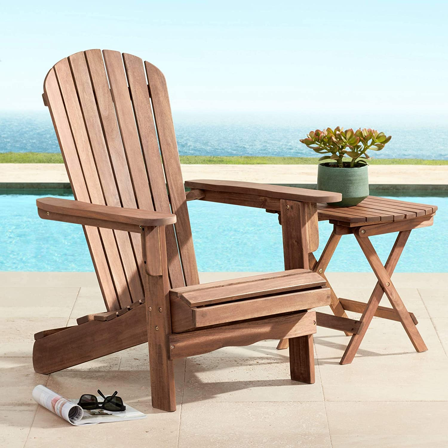 "Cape Cod 28 3/4"" Wide Natural Wood Adirondack Chair - Teal Island Designs : Garden & Outdoor"