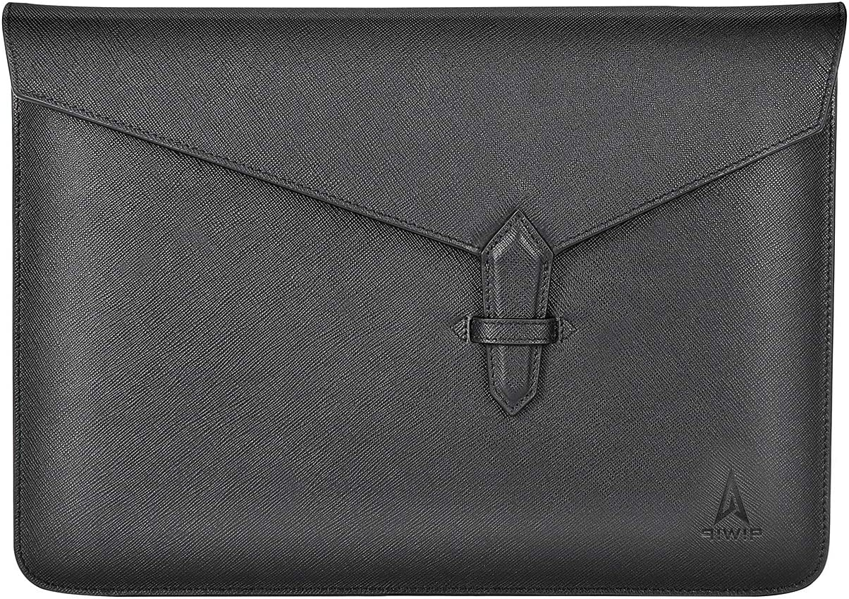 qiwip Laptop Sleeve–Genuine Leather 13-13.5 Inch Black Laptop Case – Deluxe Envelope Case for MacBook/iPad Pro/Surface/Dell/HP/Lenovo– Silk Inner Lining – Elegant and Practical