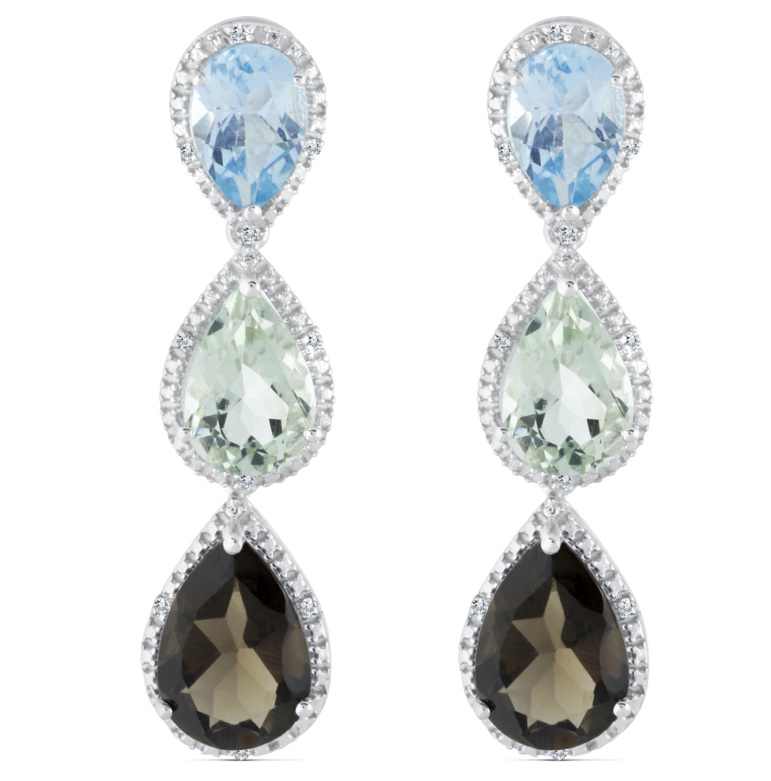 Sterling Silver Triple Teardrop Dangle Gemstone Earring, Set with .08 Cttw Diamonds (Blue Topaz/Green Amethyst/Smokey Quartz)