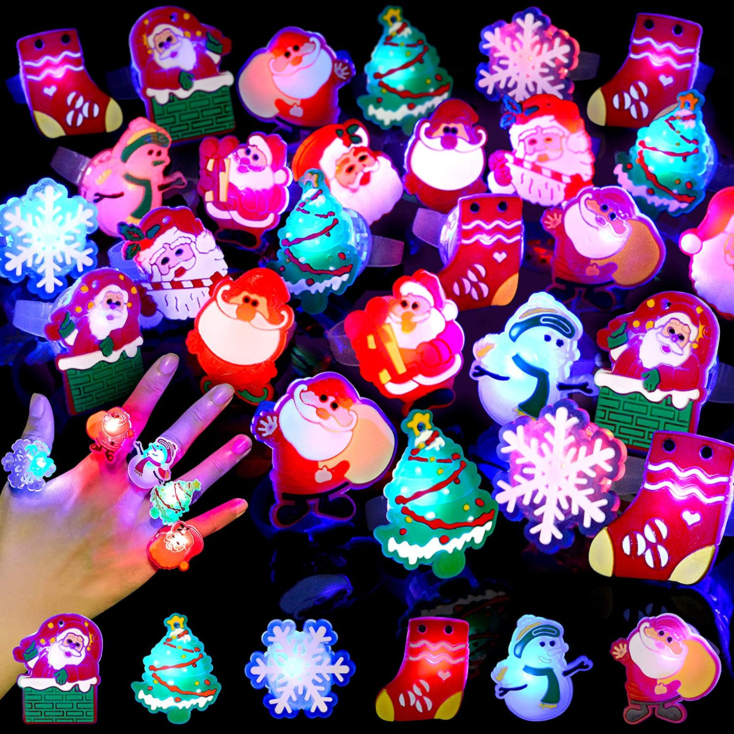 Amazon Com Budi 50pcs Christmas Party Favors Led Finger Lights For Kid Adults Light Up Rings Stocking Stuffers Light Up Toys Rings Party Decorations Assorted Styles With Gift Package Toys Games