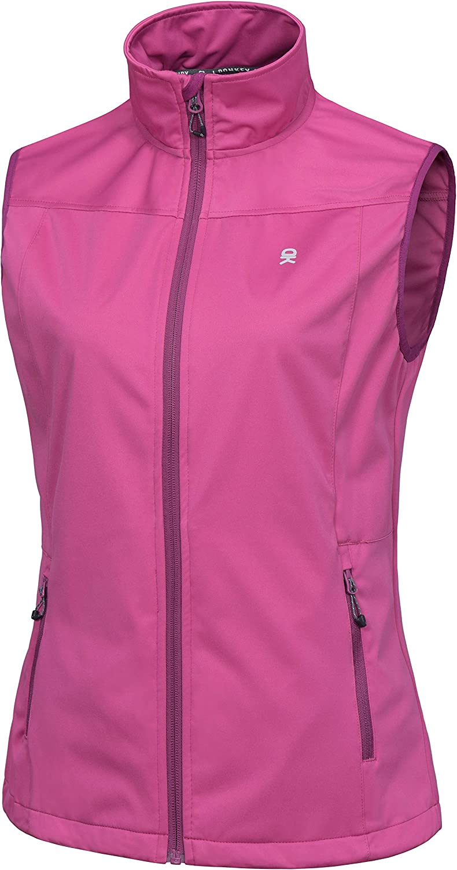 Little Donkey Andy Women's Lightweight Softshell Vest, Windproof Sleeveless Jacket for Running Hiking Travel