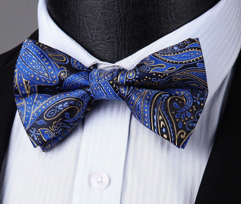 HISDERN Pre-Tie Paisley Bow Tie Pocket Sqaure Mens Boys Bowties Set