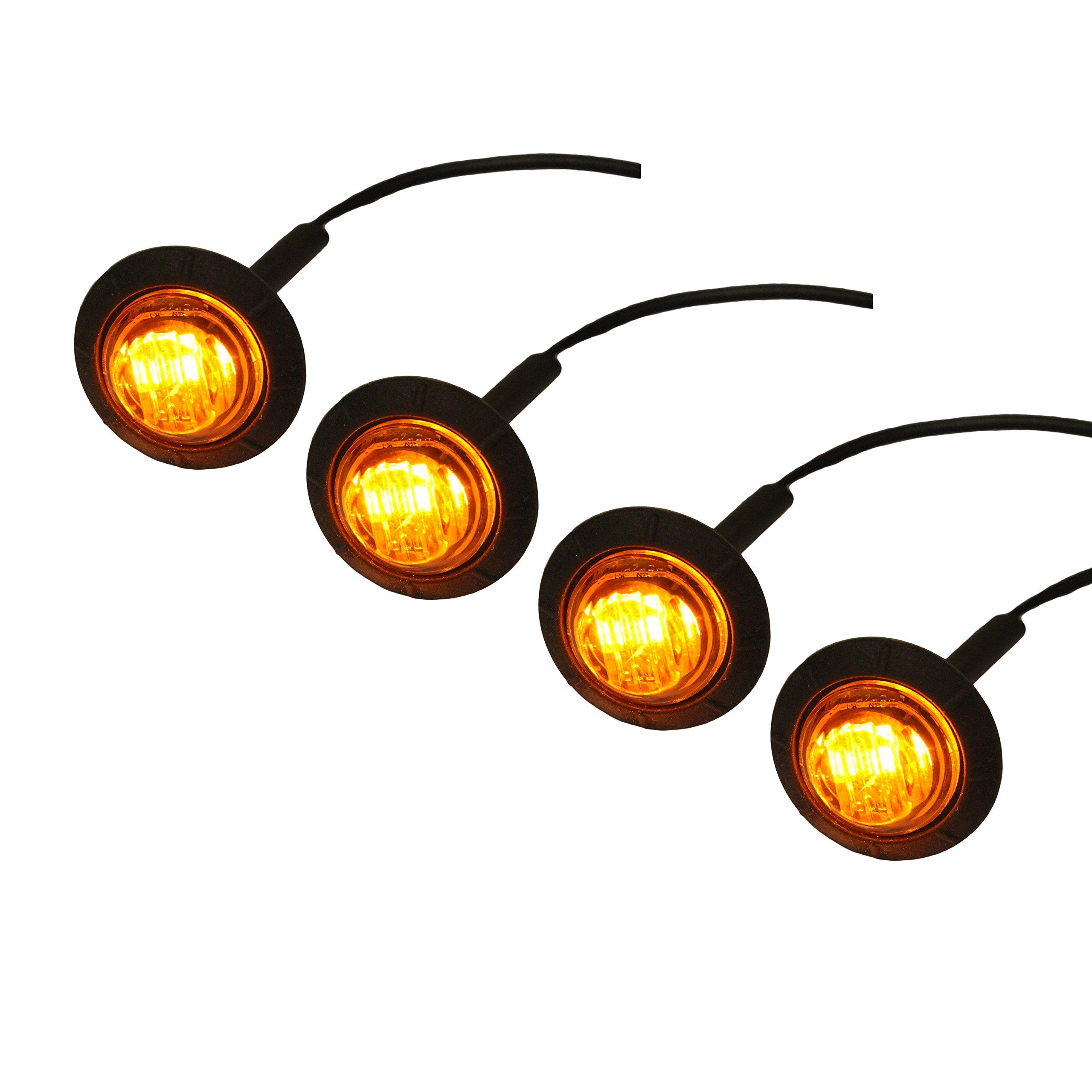 4 PACK: 3/4'' Recessed LED Lights for Marker / Signal (Amber)