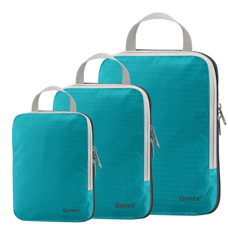 Compression Packing Cube 3-teilig, Gonex robust & langlebig Verpackungswürfel,blau