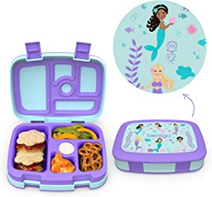 Bentgo Kids Prints Leak-Proof, 5-Compartment Bento-Style Kids Lunch Box - Ideal Portion Sizes for Ages 3 to 7 - BPA-Free and Food-Safe Materials - 2020 Collection - Mermaids in the Sea
