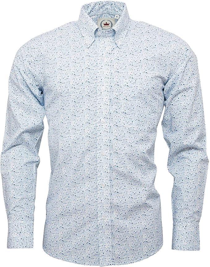 Relco - Camisa de Manga Larga para Hombre, diseño Floral, Color Blanco Blanco Blanco 3XL: Amazon.es: Ropa y accesorios