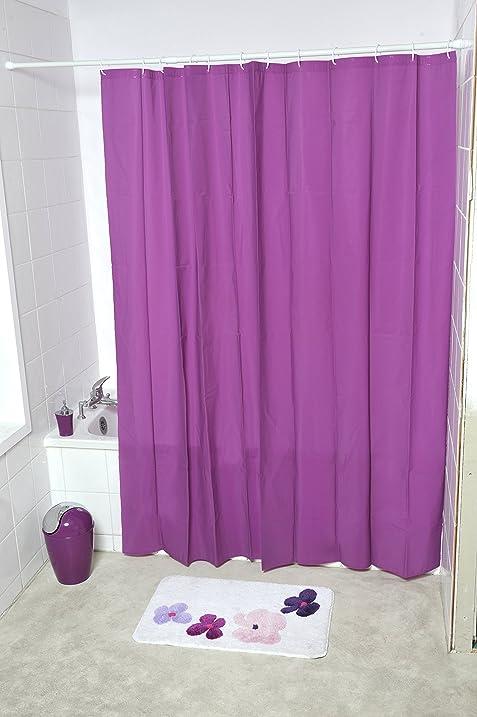 Amazon.com: EVIDECO Eva Solid Bathroom Shower Curtain, Purple: Home ...