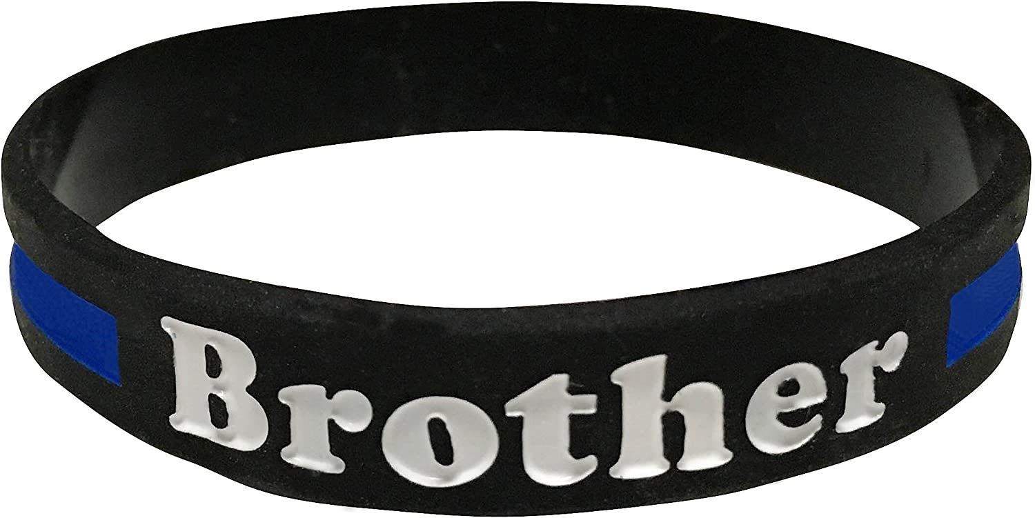 SayitBands Dad Thin RED Line Silicone Wristband Bracelets Police Officers Patrol Awareness Support