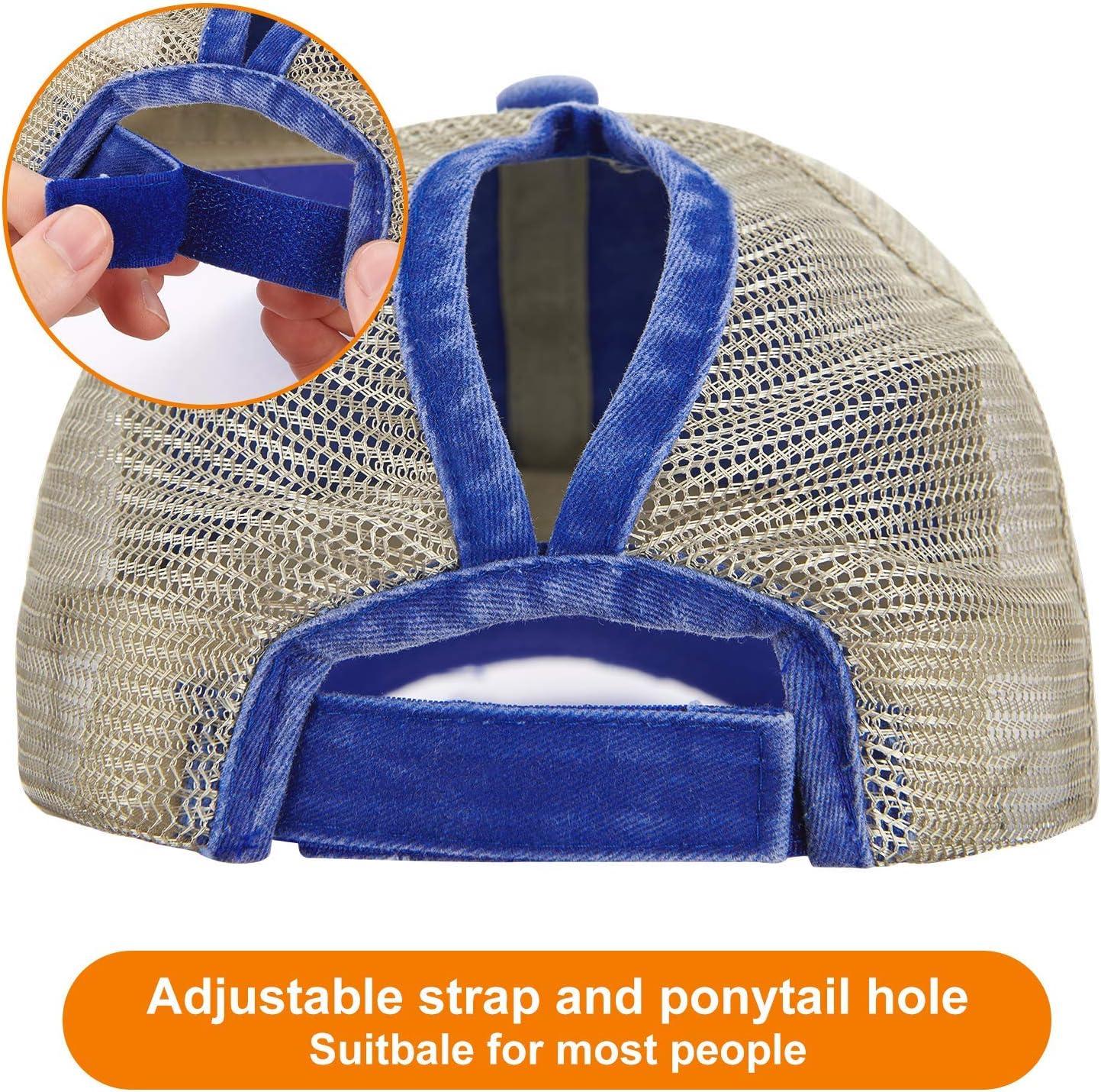 LIVACASA 1PC Baseball Cap With Ponytail Hole Half Mesh Outdoor Sport Ladies Summer Baseball Caps Sunscreen Adjustable Hat 22.5-25.5Inches