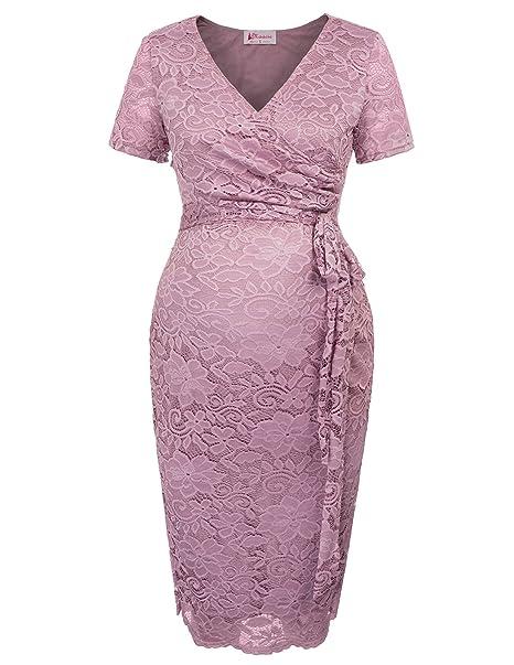 Vestido Premamá de Encaje para Las Mujeres Embarazadas Maternidad Lactancia para Fiesta S MC1003-1