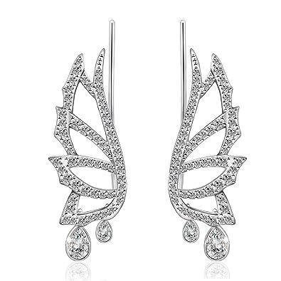 4471f6dcba26 925 Sterling Silver Drop Earrings for Women Ear Climbers Cuff Pins CZ Hook  Jewellery Gifts (angel wings)  Amazon.co.uk  Jewellery