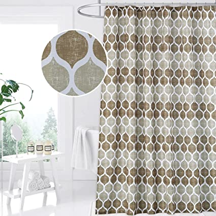 CAROMIO Geometric Fabric Shower Curtain Moroccan Ogee Patterned Modern For Bathroom