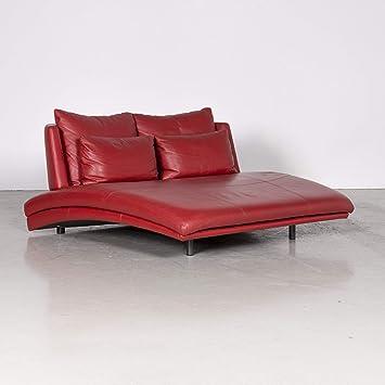 Rolf Benz 2800 Designer Leder Sofa Rot Echtleder Zweisitzer Couch