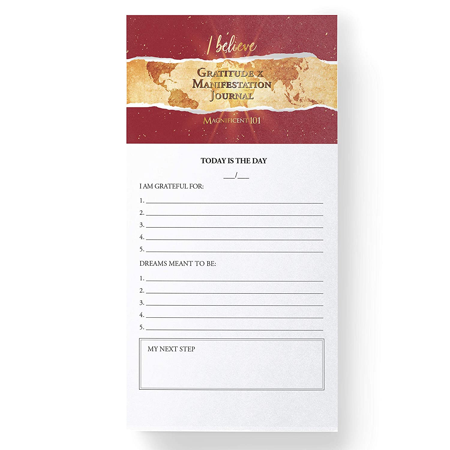 MAGNIFICENT101 Magnetic Notepad: Gratitude x Manifestation Journal - Create a Vision for Your Dream Life in Your Refrigerator | Inspirational Positive Gifts | Motivational Fridge Magnet 5.5x5.5 in.