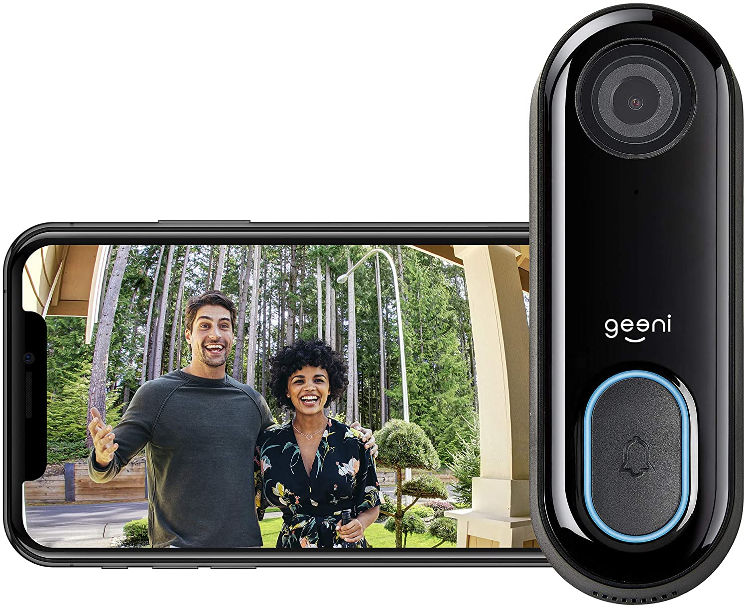Geeni Video Doorbell | HD 1080p Video Quality, Weather-Resistant, 2-Way Audio | Motion Detection and Alerts | Easy Installation (Existing Doorbell Wiring Required) | Requires 2.4GHz WiFi | Black
