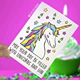 Unicorn Cards, Best Friend Card, Unicorns, Celebration Card, Filled with Gin, Birthday Card, Christmas Card, Funny Card, Gin Lovers PC147