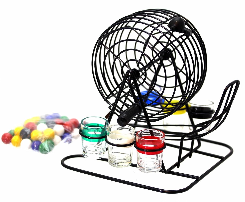 Bingo Lotto Trinkspiel Set bestehend aus 6 Schnapsgläsern, Mischtrommel usw. - Ideales Trinkspiel Oramics