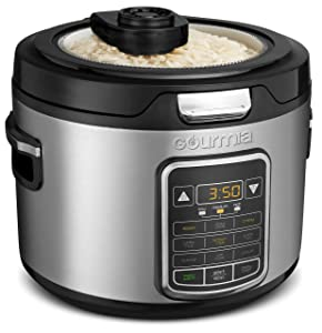 Gourmia GRC970 11-in-1 Digital 20-Cup Rice Cooker | Clear Glass Lid For Easy Viewing | Steam Tray | Delay Timer | Touch Controls | Stainless Steel Exterior | Recipe Book Included