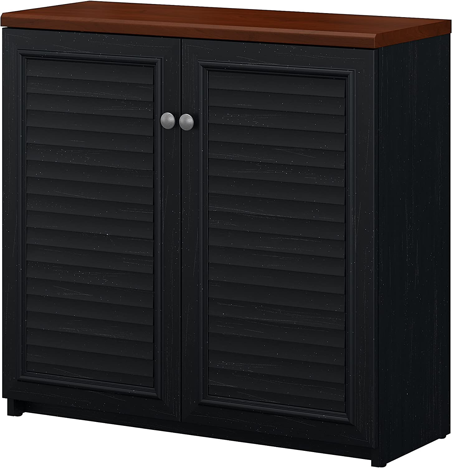 Bush Furniture Fairview Small Storage Cabinet with Doors in Antique Black and Hansen Cherry