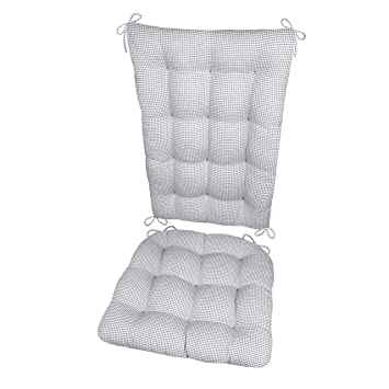 Groovy Barnett Products Madrid Grey Rocking Chair Cushions Size Extra Large Latex Foam Fill Seat Pad Back Rest Reversible Made In Usa Gingham Check Uwap Interior Chair Design Uwaporg