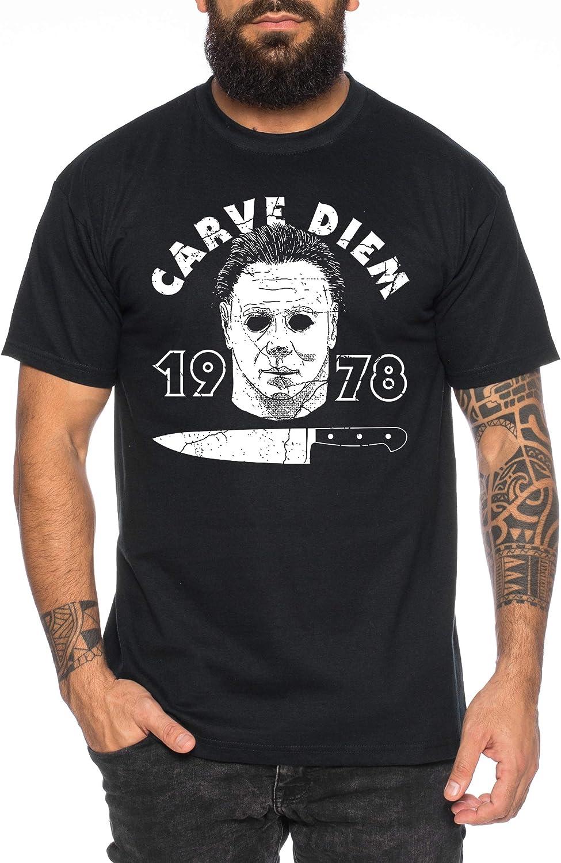 Tee Kiki Carve Diem - Camiseta de Hombre Halloween Michael Horror Myers Pennywise Man 13 Jason Voorhees Nightmare