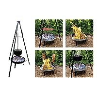 Feuerstelle XXL schwarz Fire Pit Garten Grill-Set ✔ rund dreieckig ✔ schwenkbar ✔ Grillen mit Holzkohle ✔ mit Dreibeinen