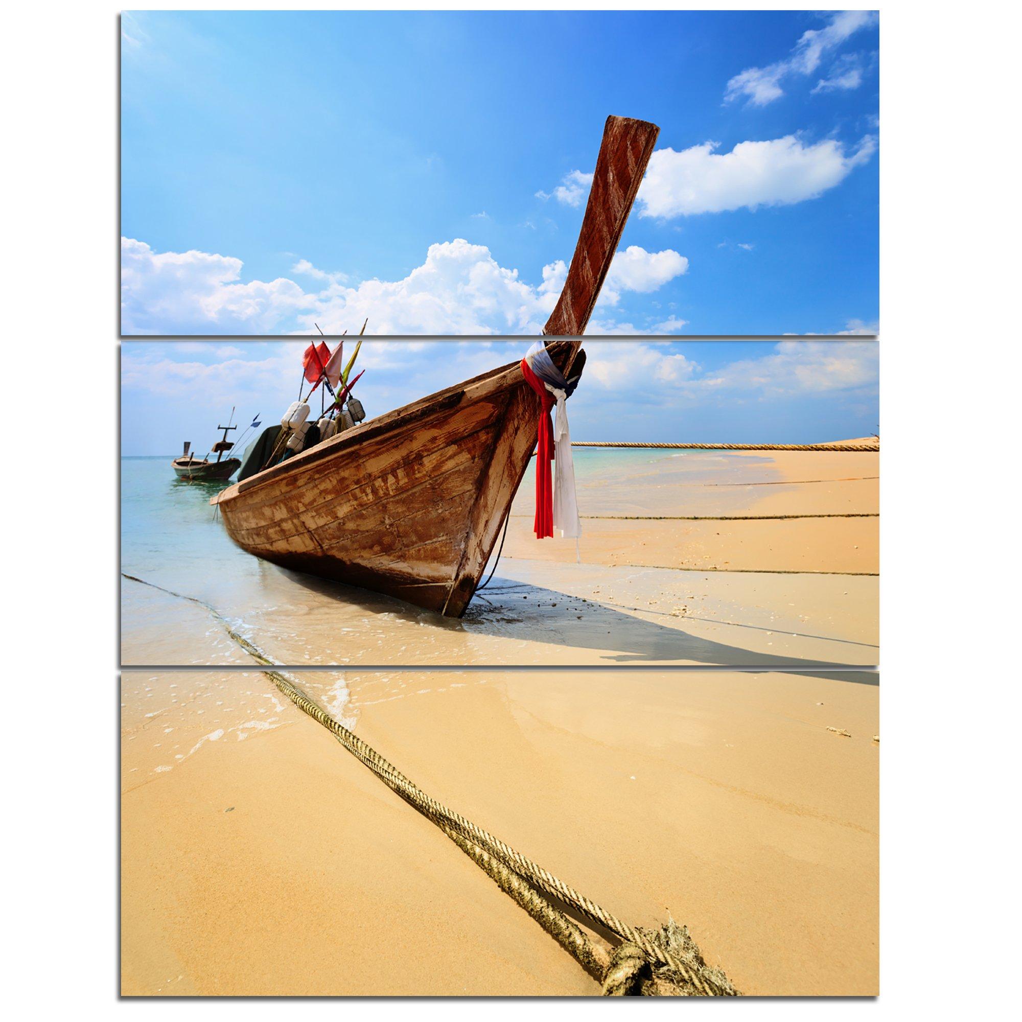 Designart PT8945-12-20 Thai Long tail Boat Beach and Shore Canvas Art Print by Design Art