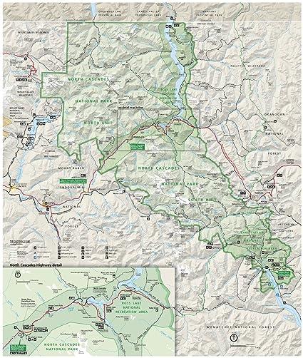 Amazon.com: Wall Map of North Cascades National Park in Washington ...