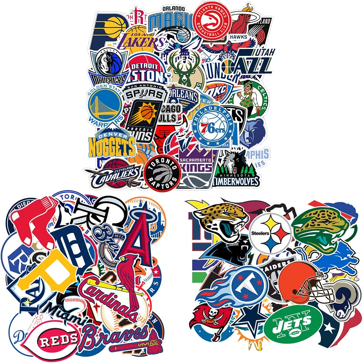 93Pcs Sports Sticker Packs,31 Basketball Stickers & 30 Baseball Stickers & 32 Football Stickers,Team Logo Stickers for Water Bottles Laptop Skateboard,Waterproof Vinyl Stickers for Adults Teens