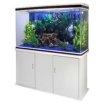 MonsterShop - Acuario 300 litros con Mueble Blanco y Grava Azul 143cm x 120cm x 39cm: Amazon.es: Hogar